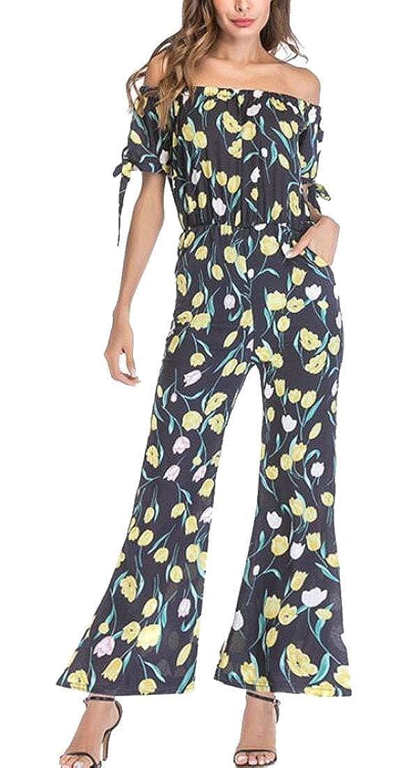 pujingge Womens High Waist Off Shoulder Long Wide Leg Pants Jumpsuit Romper