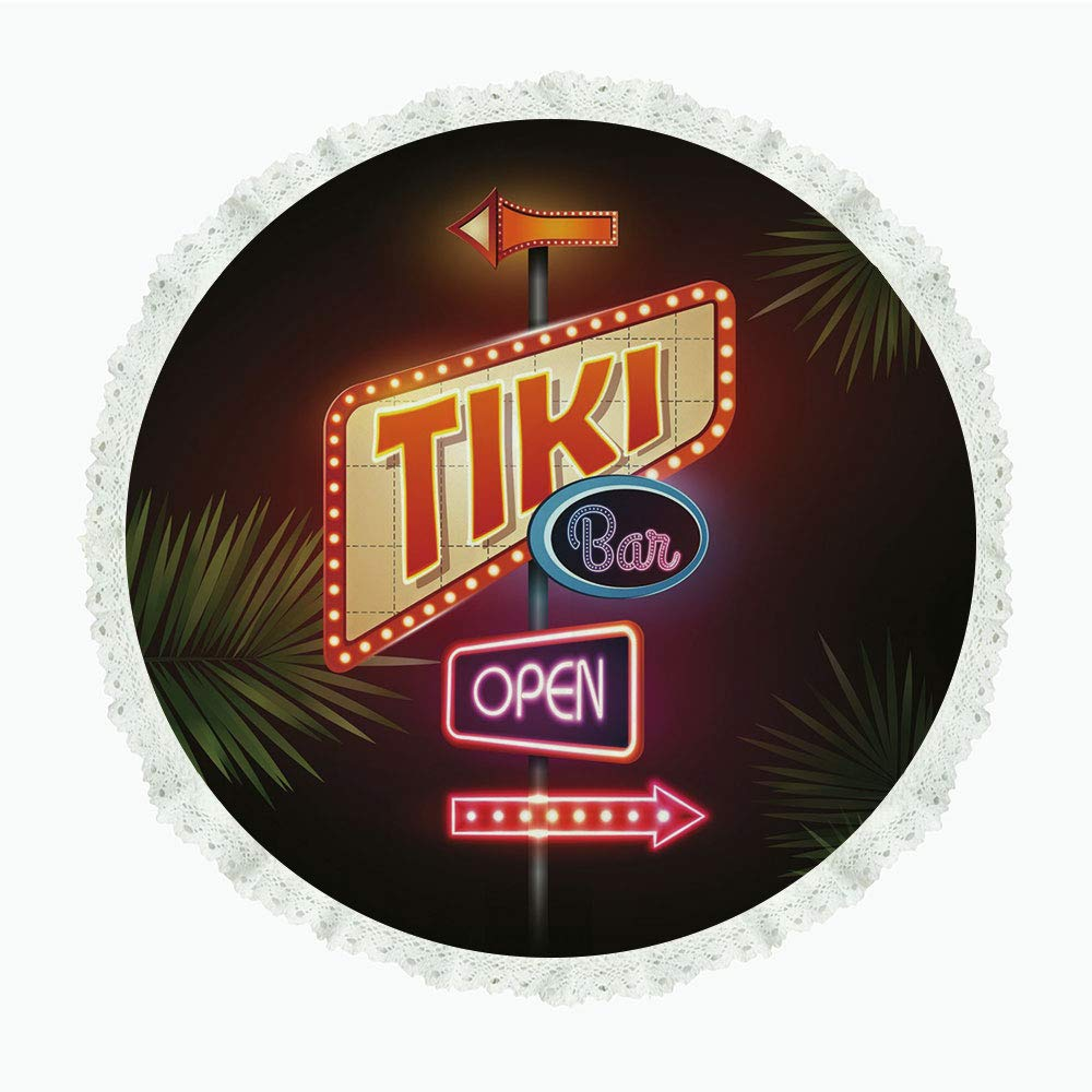 "iPrint 60"" Round Polyester Linen Tablecloth,Tiki Bar Decor,Old Fashioned Neon Signs Illustration Open Bar Palm Tree Branches Roadside Decorative,Multicolor,for Dinner Kitchen Home Decor"