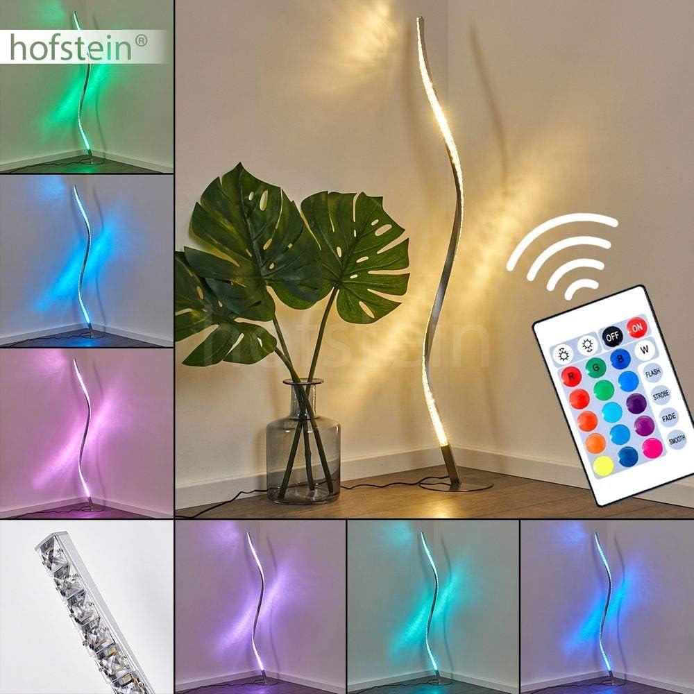 LED Stehlampe Saginaw, dimmbare Stehleuchte aus Metall in Nickel-matt, 9 Watt, 700 Lumen, Lichtfarbe 3000 Kelvin (warmweiß), Standleuchte m. RGB Farbwechsler, Fernbedienung u. Glitzereffekt Stehleuchte Saginaw Rgb Farbwechsler