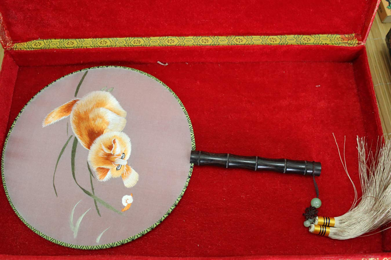 Handmade 3D Lifelike Naughty Playing Cat Embroidery Double Side Silk Hand Fan by Heatrace