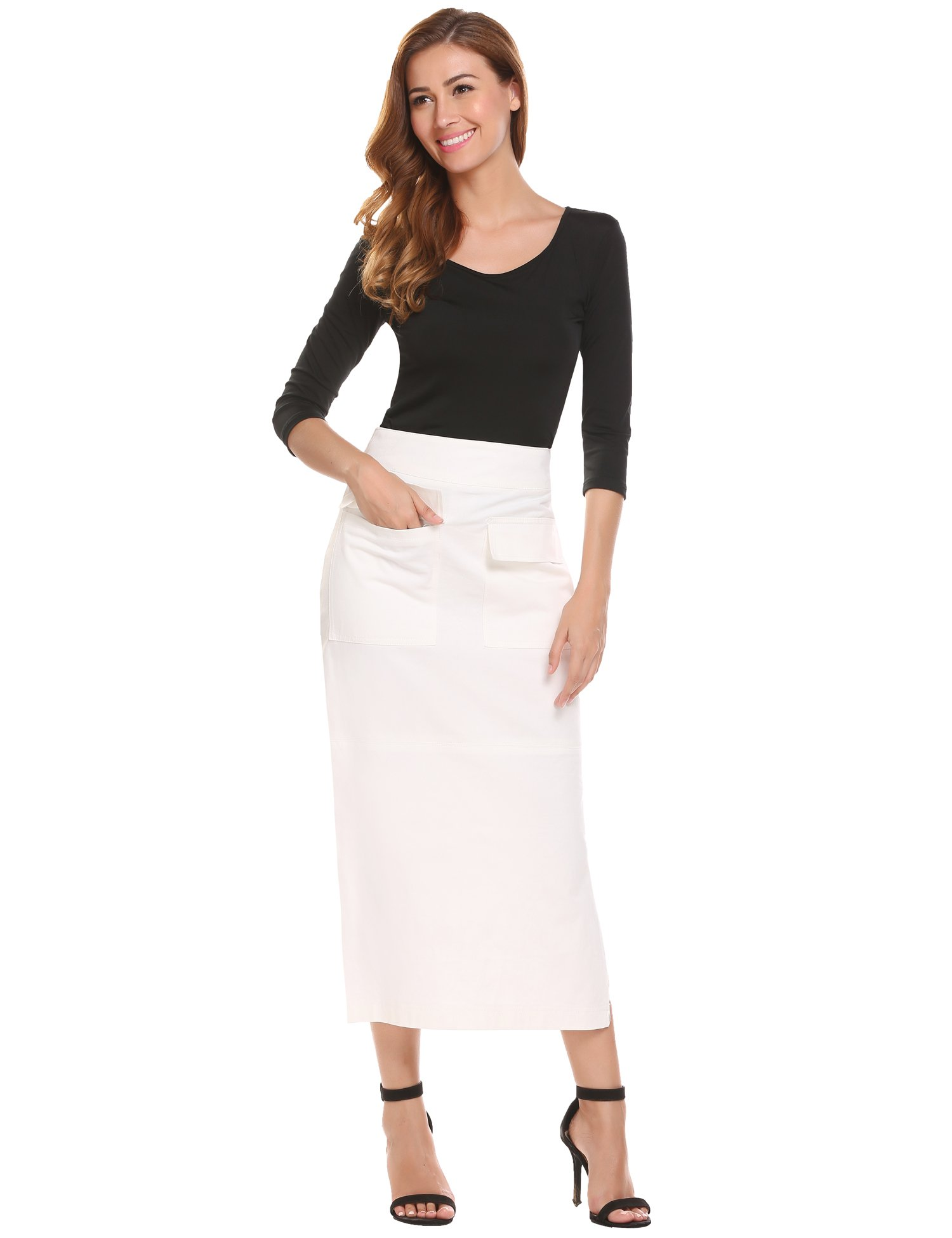 Zeagoo Womens Super Comfy Long Denim Maxi Skirt, White, Medium