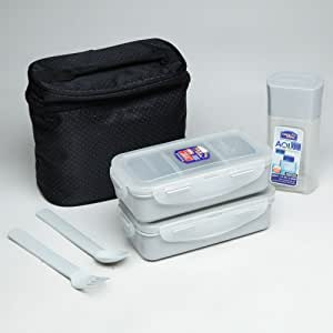 Lock & Lock Zip Bag Lunch Box Set Containers with Leak Proof Locking Lids (Black)