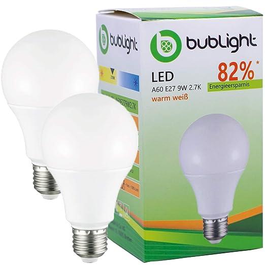 2 x bublight Bombilla LED E27 9 W, equivalente a bombilla de 50 W,
