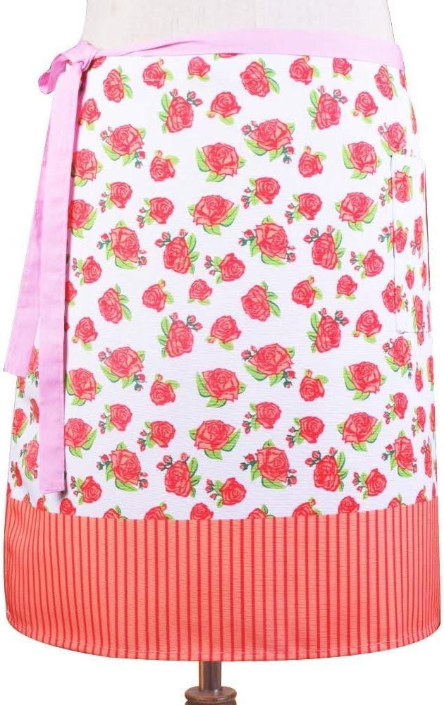 Love Potato Woman Taillen-Sch/ürze f/ür Zuhause Caf/é Restaurant halbe Bistrosch/ürze mit Taschen Servieren Floral Red K/üche zum Kochen