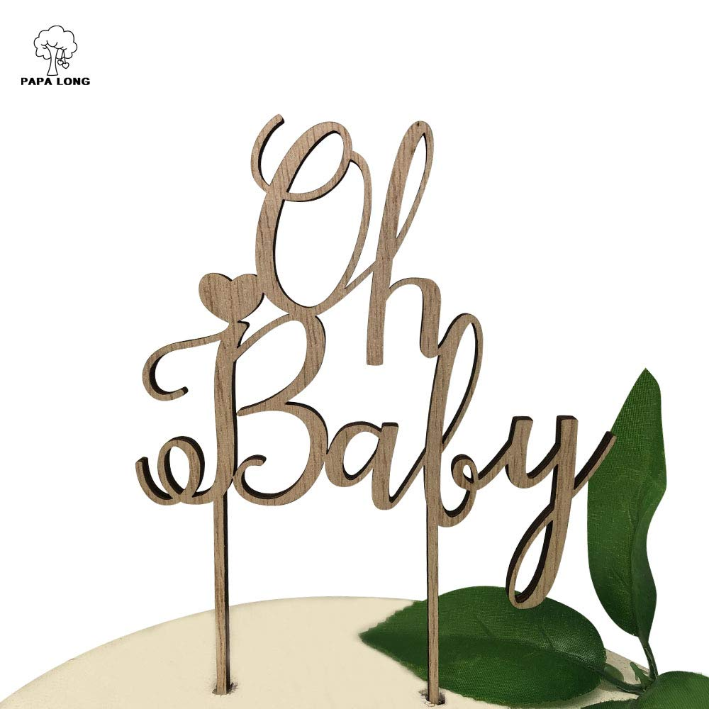PAPALONG Design Wood Oh Baby Cake Topper For Baby Shower -BABY Boy Baby Girl