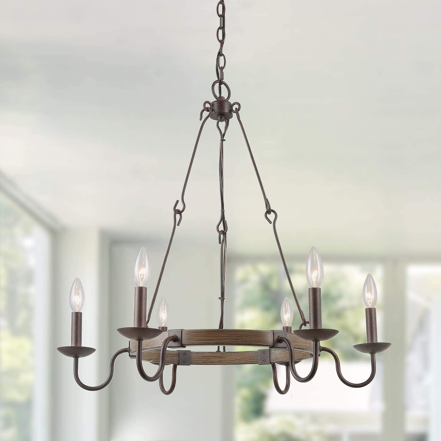 """LOG BARN Rustic French Country Chandelier, 6 Lights Wagon Wheel Hanging Island Lighting for Kitchen in Rusty Metal & Faux Wood Finish, 28"""" Medium Farmhouse Round Pendant Light Fixture"""