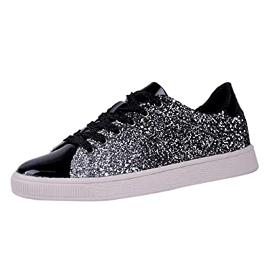 online retailer a927b 84703 Women s Fashion Sequins Solid Color Sneakers Nightclub Trend Wild Casual  Shoes Athletic Running Walking Gym Lace