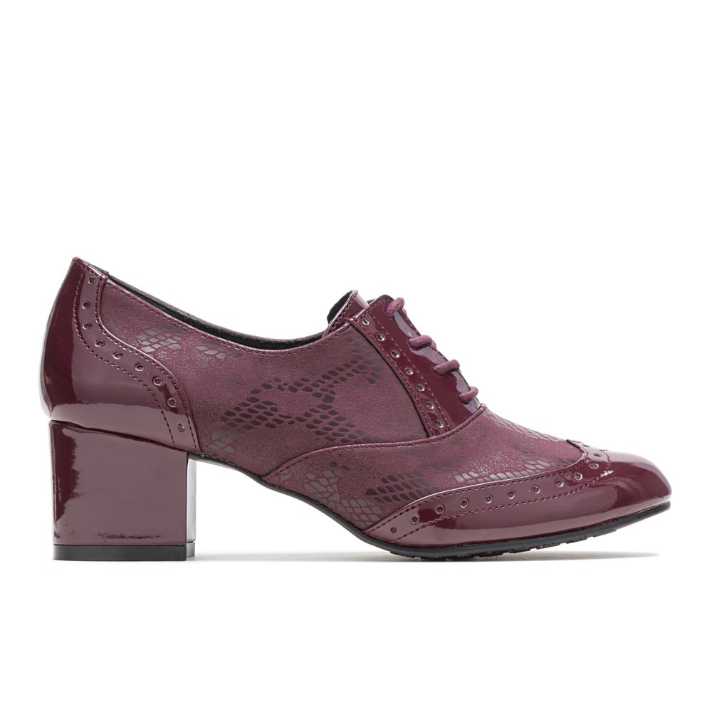 Soft Style by Hush Puppies Women's Gisele Oxford, Bordeaux Snake/Patent, 9.5 M US
