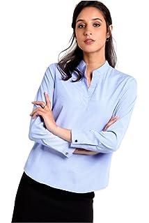 a3240468b05b1d ENL Women s Georgette Cuff Mandarin Collar Formal Shirt Golden ...