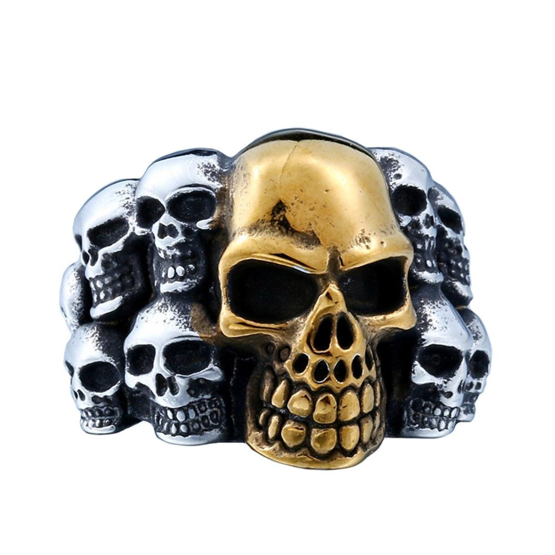 b7a502c7492b PAMTIER Vendimia Punk Cráneo Acero Inoxidable Hombre Anillo Grande Gótico  Biker Banda Plata Oro Negro De