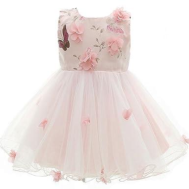 AHAHA Rosa Baby Mädchen Prinzessin Kleider Blumenmädchen Kleid ...