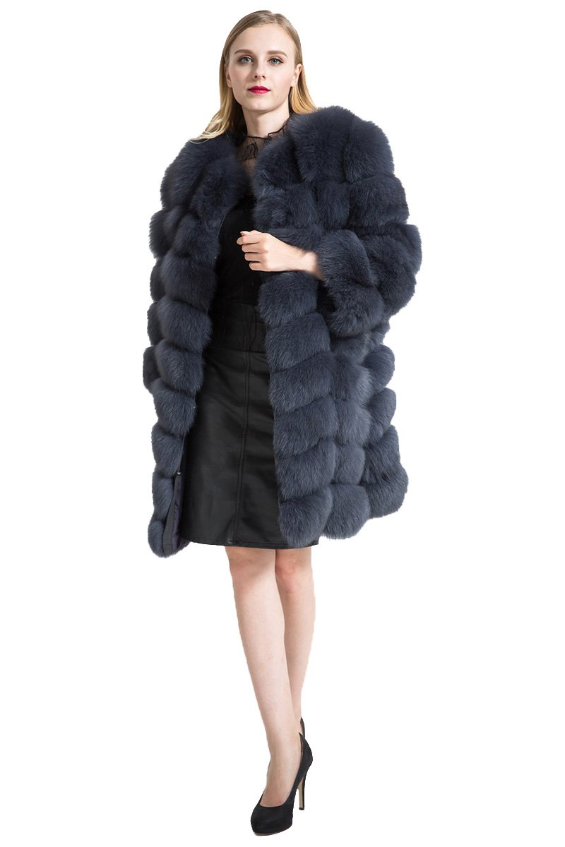 TOPFUE Women's Navy Thick Top Real Fox Fur Detachable Sleeve Parka Long Winter Coat