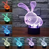 3D LED Optical Illusion Lamps Night Light, LSMY 7 Colors Touch Art Sculpture Lights with USB Cables Bedroom Desk Table Decoration Lamp for Kids Adults, Animal Rabb
