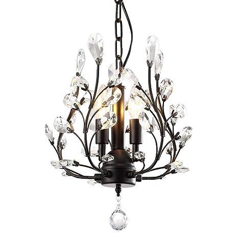 TopDeng Vintage Cristal Lámpara de araña, E14 Cableado 3 ...
