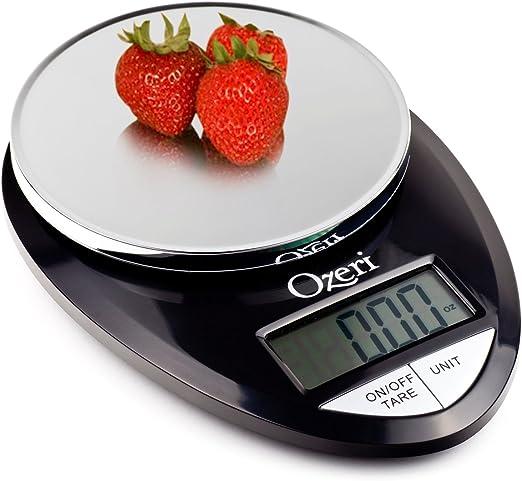 Amazon.com: Ozeri Pro Digital Kitchen Food Scale, 1g to 12 lbs Capacity, in  Stylish Black: Home & Kitchen