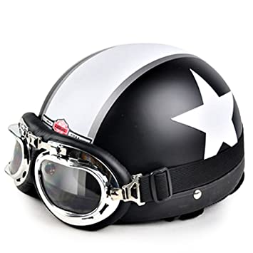 [negro mate estrella y raya] adultos Scooter/Chopper/casco de moto con
