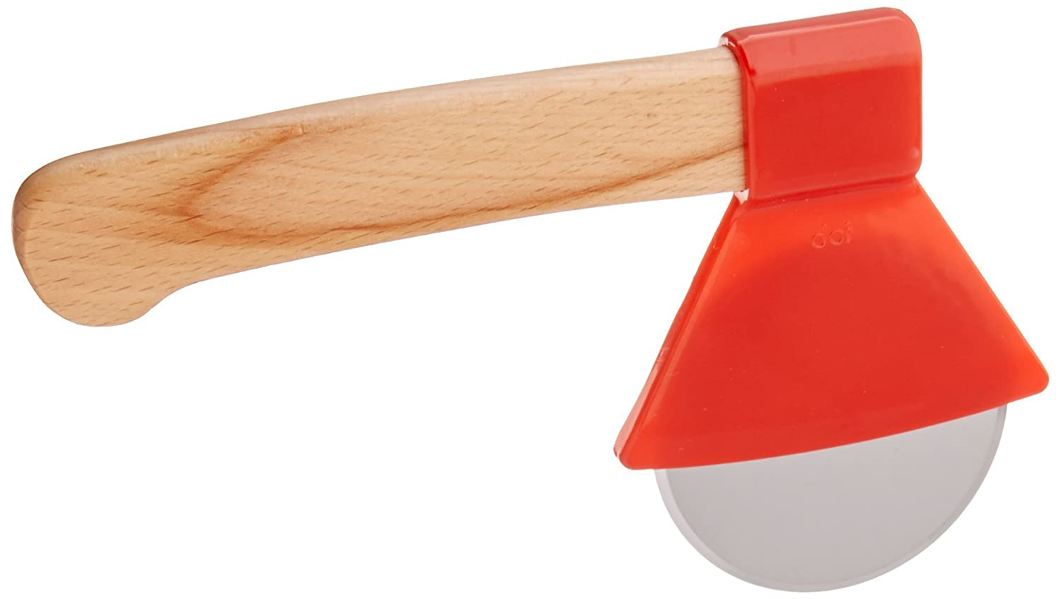 DCI Ax Pizza Cutter, Stainless Steel Cutting Blade, Wood Handle, Red 44908