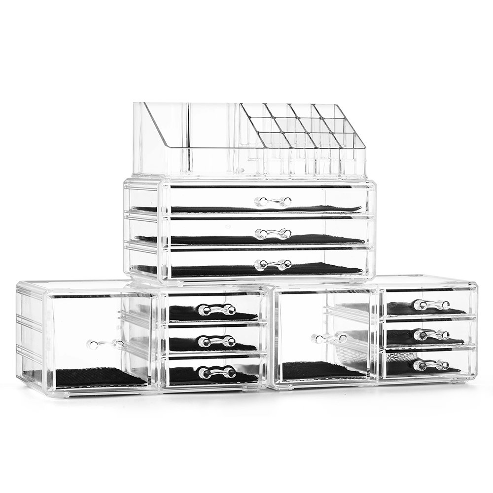 Felicite Home Acrylic Jewelry and Cosmetic Storage Boxes Makeup Organizer Set, 4 Piece by Felicite Home