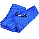 Multi-Pack Microfiber Waffle Pattern Golf Towel, Club Groove Cleaner and Foldable Divot Tool with Magnetic Ball Marker (2 Pack Or 3 Pack with 3 Color Options)