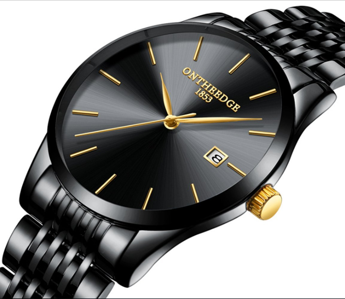 L& H Jewelry Mens Business Watch Fashion Super Thin Quartz Movement Analog Watch Pointer Display Watch (Pure Blak)