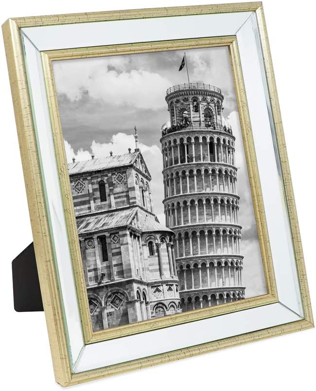 Isaac Jacobs 8x10 Gold Beveled Mirror Picture Frame - Classic Mirrored Frame with Slight Slanted Angle Made for Wall Décor Display, Tabletop, Photo Gallery and Wall Art (8x10, Gold)