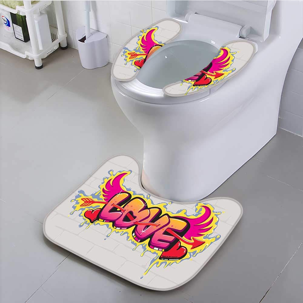 aolankaili Toilet seat Cover Love Lettering On Brick Wall Brushing Dripping Street Art Wings llustration Soft Non-Slip Water