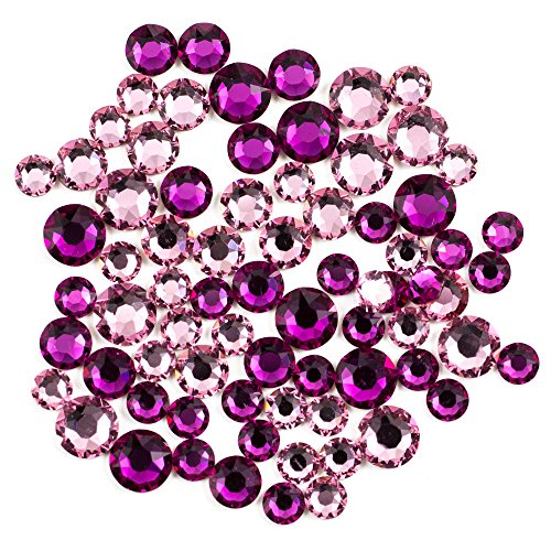 Swarovski - Create Your Style Hotfix Mix Fuchsia and Light Rose 3 packages of 80 Piece (240 Total Crystals)