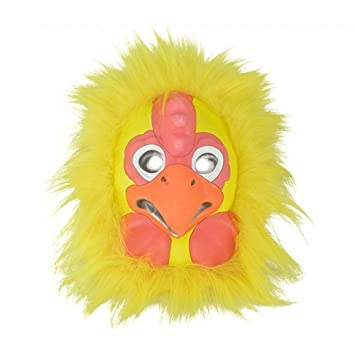 Funny Yellow Chicken Mask Pretend Play Plastic Halloween Party Novelty Face