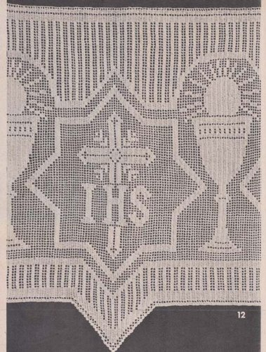 - Altar Cloth Edging Filet Crochet I.H.S. Church Lace