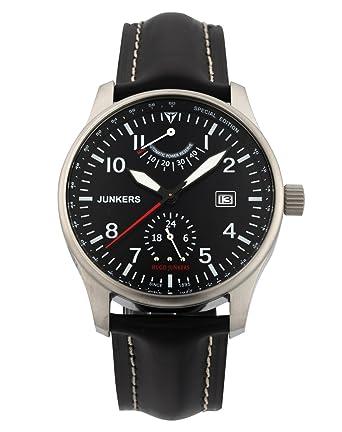 Junkers Hugo Junkers 66662 - Reloj analógico automático para hombre, correa de cuero color negro