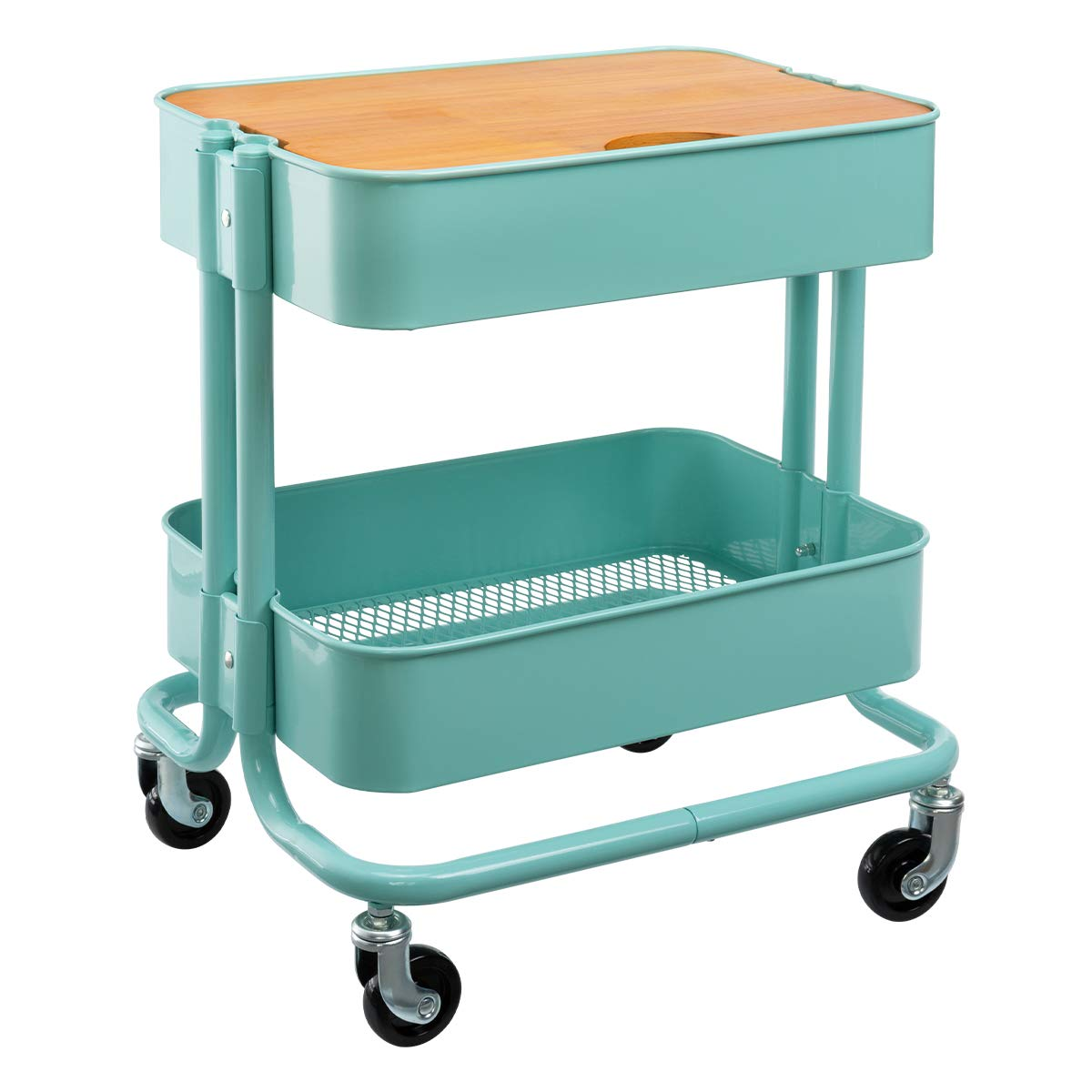 HollyHOME 2-Tier Metal Utility Service Cart Rolling Storage Shelves with Planks,Movable Storage Utility Cart, Blue by HollyHOME