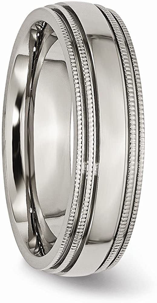 Wedding Bands Classic Bands Milgrain Bands Titanium Grooved and Beaded Edge 6mm Polished Band Size 11.5