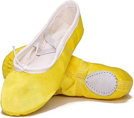 Girls Ballet Dance Shoes Sole with Satin Ballet Slippers Flats Gymnastics Shoes
