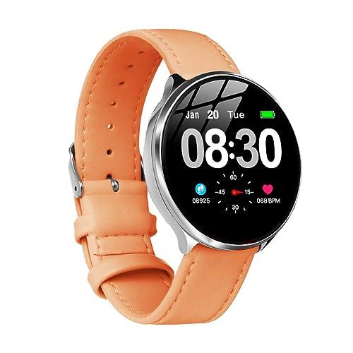 Smartwatch Mujer Impermeable Reloj Inteligente Elegante Monitores de Actividad Impermeable IP67 con Monitor de Sueño Pulsómetros Podómetro Contador de Caloría Compatible con iOS Android Naranja