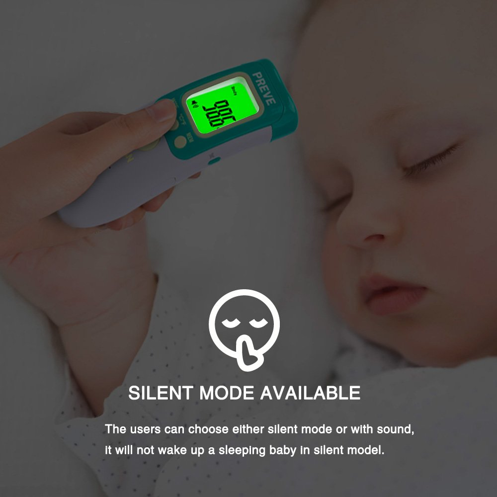 Preve Non Contact Infrared Forehead Thermometer for Babies Children Adults Medical Accurate Body/Object/Room Temperature Fever Alarm No Touch (Green)