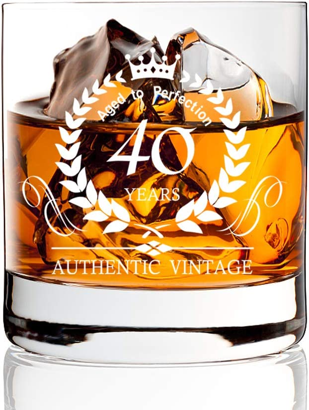 AGMdesign, 40th Anniversary Birthday Whiskey Glasses Gift, 40th Anniversary Ideas for Him, Dad, Husband, Friends, 40 Year Old Party Supplies Decorations, 40 Year Old Gifts for Men Women