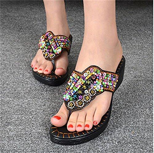 UK5 dimensioni e 235mm nuovo pantofole estate 5 e il Bianca piatti sandali AJZGF Nero indossa etnici la freschi 37 spiaggia Colore antiscivolo stile sandali è 4H1ac0wq