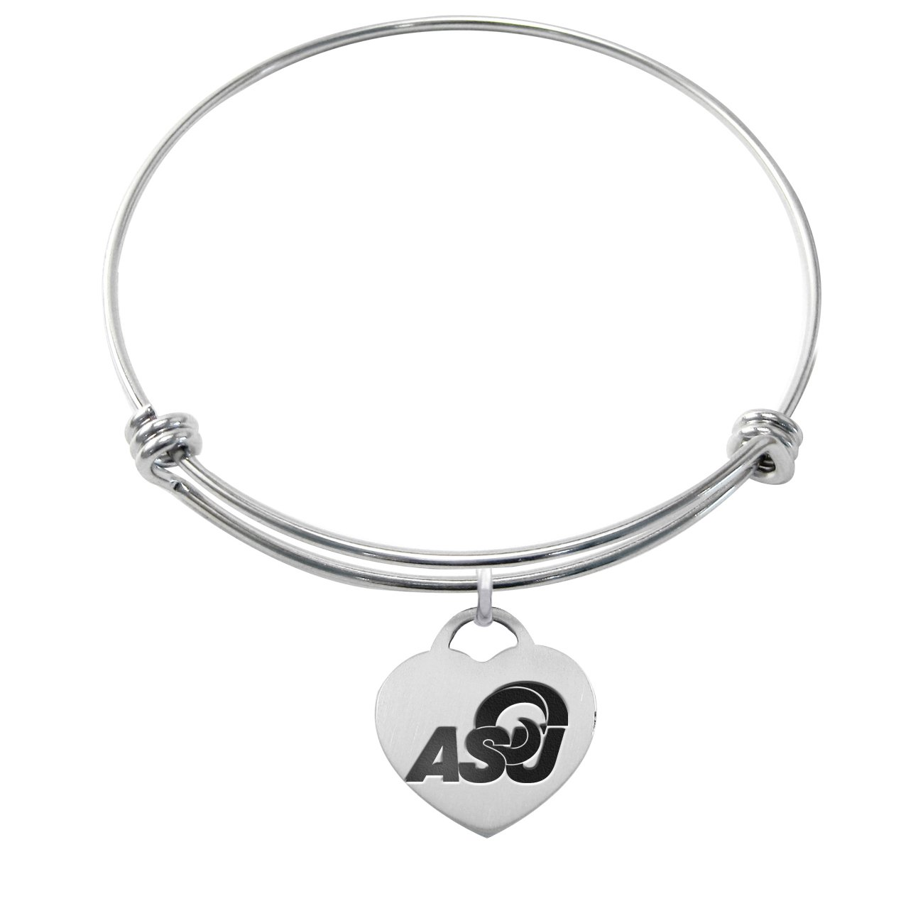 College Jewelry Colorado State University Rams Stainless Steel Adjustable Bangle Bracelet with Rose Gold Plated Round Charm