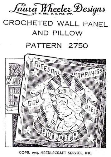 Filet Crochet Panel & Pillow Pattern Liberty Enlightening the World Freedom Happiness God Bless America Laura Wheeler #2750