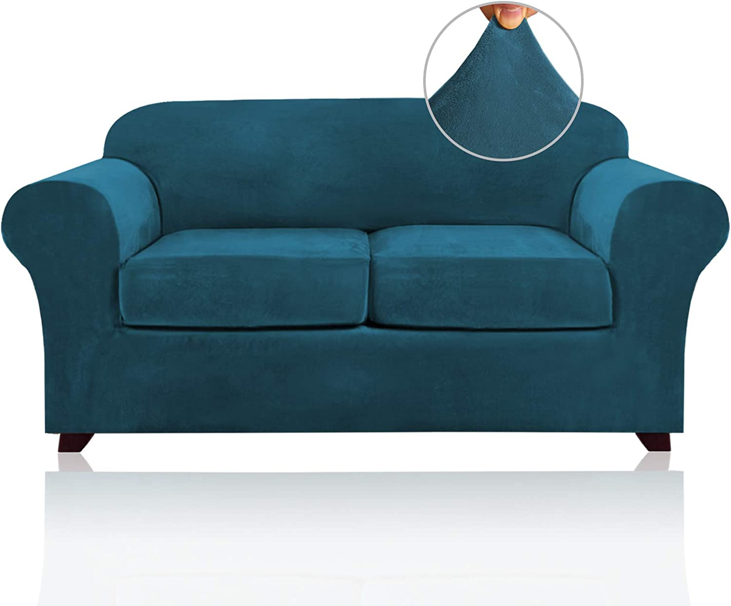 3 Pieces Sofa Covers Stretch Velvet Couch Covers for 2 Cushion Sofa Slipcovers Soft Sofa Slip Covers with 2 Non Slip Straps Furniture Covers with 2 Individual Seat Cushion Covers (Medium, Deep Teal)