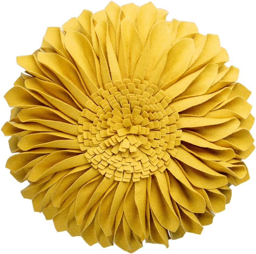 JWH Handmade 3D Flowers Accent Pillow Round Sunflower Cushion Decorative Pillowcase with Pillow Insert Home Sofa Bed Living Room Decor Gift 12 Inch / 30 cm Cotton Canvas Wool Yellow: Home & Kitchen