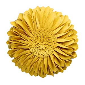 JWH Handmade 3D Flowers Accent Pillow Round Sunflower Cushion Decorative Pillowcase with Pillow Insert Home Sofa Bed Living Room Decor Gift 12 Inch / 30 cm Cotton Canvas Wool Yellow