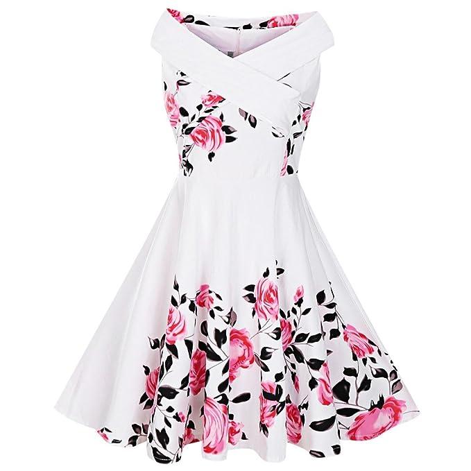 Criss Cross Plus Size Floral Retro Pin Up Dress at Amazon Women\'s ...
