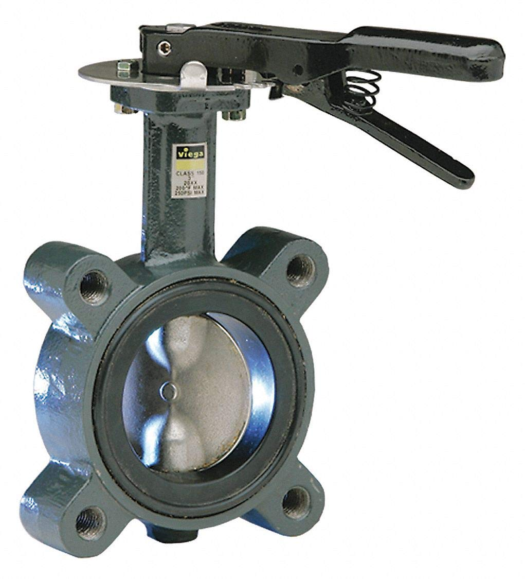 4 Pipe Size Ductile Iron 200 psi Semi-Lug-Style Butterfly Valve