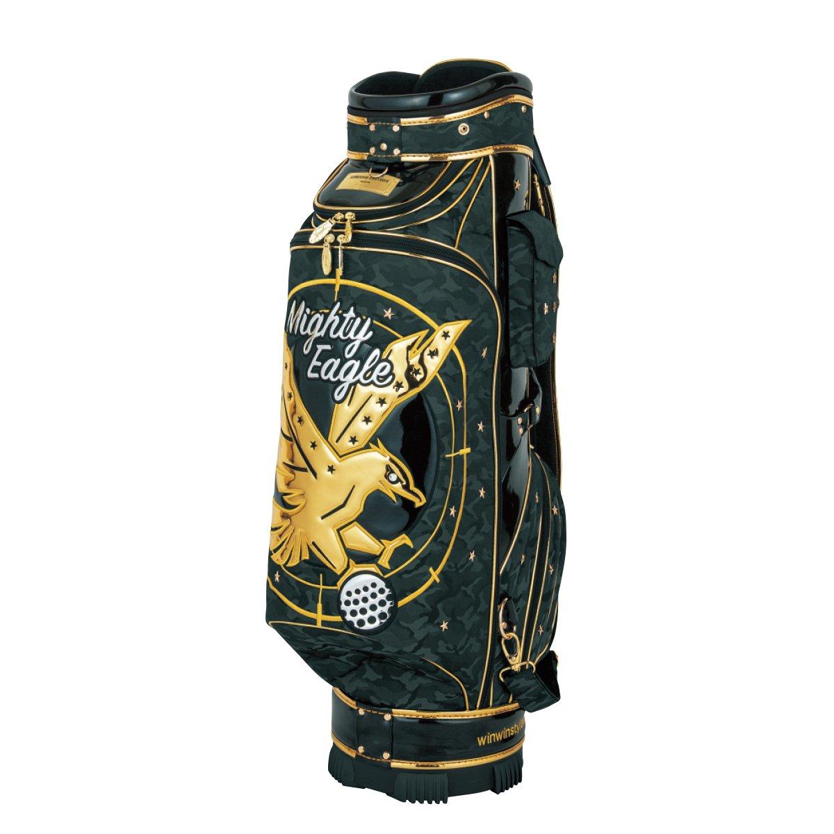 WINWIN STYLE(ウィンウィンスタイル) キャディーバッグ PREMIUM MIGHTY EAGLE CART Bag Gold Ver. 9.0型 47インチ対応 限定モデル ユニセックス CB-344 ブラック デザイン:エナメルアップリケ刺繍 B07B4L98ZB
