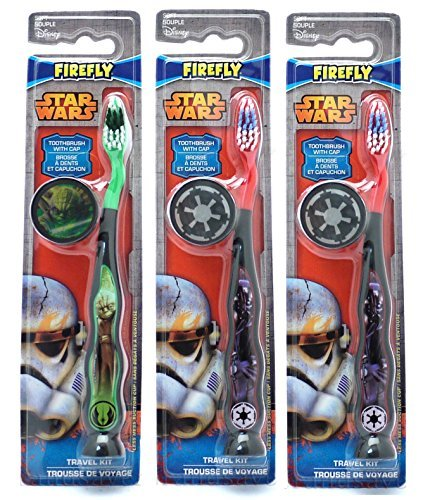 Star Wars Children's Tooth Brush (Pack of 3) With Cap and Suction - Toothbrush Designs Vary - Premium (Star Wars Boys)