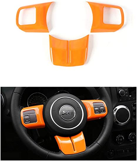 Psler Cars Decorative Sticker Trim Steering Wheel Cover For Wrangler Jk 2011 2017 Compass Patriot 2011 2015 Grand Cherokee 2011 2013 Orange Auto