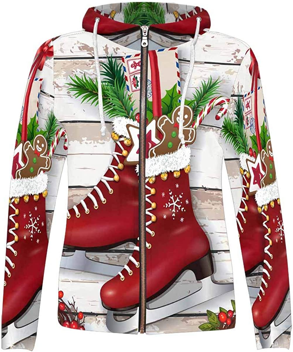 INTERESTPRINT Womens Sparkling Holiday Christmas Stocking with Candy Cane Hoodies Sweatshirt