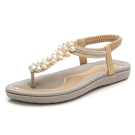 6ae0f3eb0 Amazon.com  Flat Sandals Bohemia Shoes Woman Rhinestone Flip Flop Crystal  Flower Beach Sandal Casual Shoes Big  Sports   Outdoors