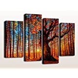 Canvas Prints Tree Sunset in Forest Autumn Season Landscape Print on Canvas 4 Panels Large Wall Art Decor Modern Giclee Art Work Framed Ready to Hang Contemporary Painting Sunshine Big Woods Scenery Picture Prints for Home Office Decoration